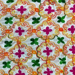 26 Gauge - Designer Bright Lycra - Embroidery Work - 52 Inch Panna - Threadwork & Sequence Work - Green & White Color