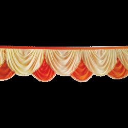 24  FT - Designer Zalar - Scallop Zalar - Kantha - Jhalar - Made Of Lycra - Brown & Orange Color