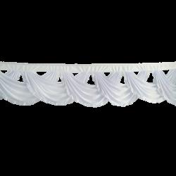 24 FT - Designer Zalar - Scallop Zalar - Chain Scallop Zalar - Kantha - Jhalar - Made Of Lycra - White Colour