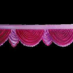 24  FT - Designer Zalar - Scallop Zalar - Kantha - Jhalar - Made Of Lycra With Tipki - Maharani Pink & Lavender Colour