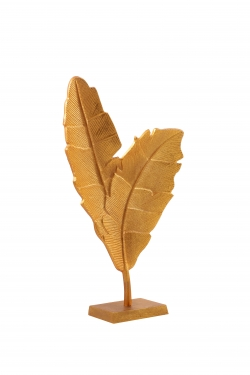 21 Inch - Double Leaf Stand - Decorative stand - Made of Aluminium Golden Polish