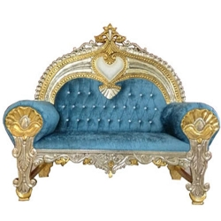 Sky Blue Color - Udaipur - Rajasthani - Heavy - Couches - Wedding Sofa - Wedding Couches - Made of Wooden & Metal.