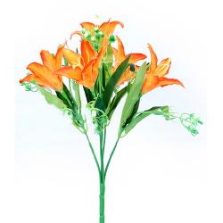 Height 13 Inch - Lily Bunch X 5 -  AF-261 - Leaf Bunch - Orange Color