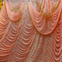 10 FT X 15 FT - Designer Curtain - Parda - Stage Parda - Wedding Curtain - Mandap Parda - Back Ground Curtain - Side Curtain - Made Brite Lycra - Orange Color