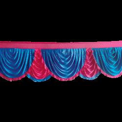 24 FT - Designer Zalar - Scallop Zalar - Kantha - Jhalar - Made Of Lycra With Tipki - Firozi Blue & Maharani Pink Color