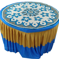 4 FT X 4 FT - Round Table Cover Frill - Shannel Fabric Top  & Lycra Frill - Blue & Golden Color