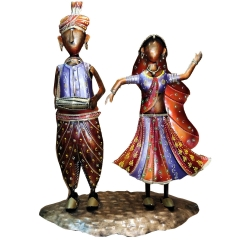 24 INCH - Rajasthani Couple on Single Stand Dolls - Decorative Showpiece - Made Of Iron