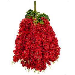 Height - 42 Inch - Hydrengea Wisteriya - Latkan - Flower Decoration - Artificial Latkan - Plastic Latkan - AF 1032 - 743 - Red Color - 1 Packet ( 12 Pieces )