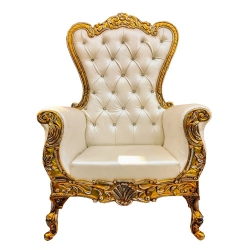 White Color - Wedding Throne Chair - Bridal Shower Chair - Maharaja Sofa Chair- Wedding Couches - Made Of Wooden Foam & Fabric ( Single Piece)
