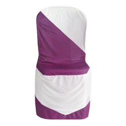 Bright Lycra Cloth Chair Cover - Without Handle - For Plastic Chair - Armless - Wine + White