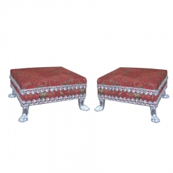 Brown Color - Puja Chowki - Pata - Chowki - Chaurang - Bajoth - Made of Wooden & Metal ( Set Of 2 )