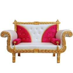 White & Red Color - Heavy Premium Metal Jaipur Couches - Sofa - Wedding Sofa - Wedding Couches - Made of High Quality Metal & Wooden  .