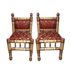 Sankheda Chair - Traditional Wooden Chair - One Pair (2 Chairs)  Red Color