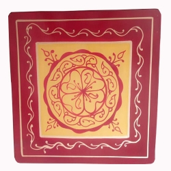 Multicolor - Puja Chowki - Pata - Chowki - Chaurang - Bajoth - Made Of Wooden & Brass Metal .