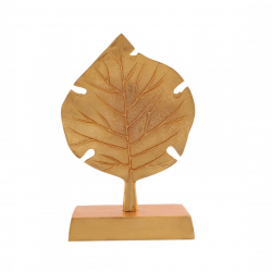 12 Inch - Single Leaf Stand - Decorative stand - Made of Aluminium Golden Polish