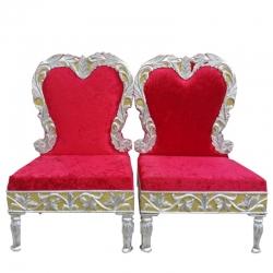 Red Color - Heavy Premium Metal Jaipur Mandap Chair - Wedding Chair - Varmala Chair - Made of High Quality Metal & Wooden - 1 Pair ( 2 Chair )