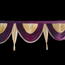 15 FT - Designer Zalar - Scallop Zalar - Kantha - Jhalar - Made of Lycra - Wine & Chandan Colour