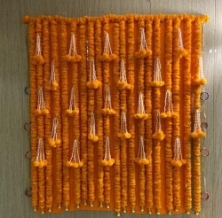 5 FT X 5 FT - Artificial Marigold Flower Back Drop - Orange color