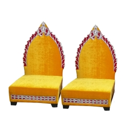 Yellow Color - Mandap Chair - Wedding Chair - Varmala Chair - Made Of High Quality Wooden & Matel- 1 Pair ( 2 Chair )
