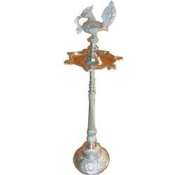 36 Inch - Fancy Kerala Diya - Samai For Wedding - Festival Gifts -  Silver Colour