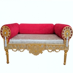 Red & Silver Color - Heavy Premium Metal Jaipur Couches - Sofa - Wedding Sofa - Wedding Couches - Made Of High Quality Metal & Wooden