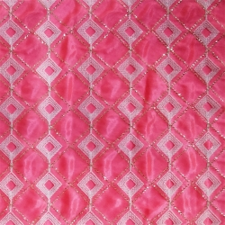 26 Gauge - Designer Bright Lycra - Embroidery Work - 52 Inch Panna -  Threadwork & Sequence Work - Pink Color & White Diomand