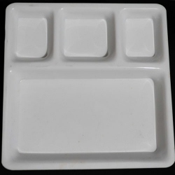 11 Inch X 14 Inch - 4 Compartment Plate - Dosa Plate - Made of Food Grade Acrylic - White Color