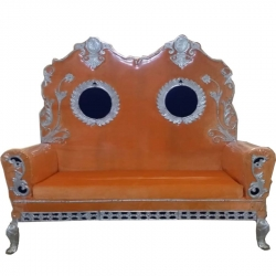 Orange Color - Regular - Couches - Sofa - Wedding Sofa - Maharaja Sofa - Wedding Couches - Made Of Wooden & Metal