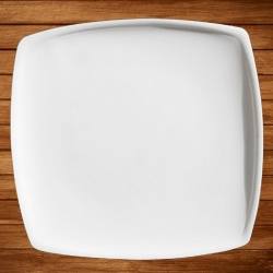 12 Inch - Dinner Plate - Made of Food Grade Acrylic - Square Shape - White Color