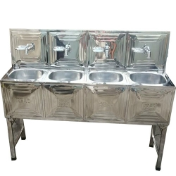 Four Taps - Wash Basin - Hand Wash Basin - Tent Wash Basin - Hand Wash Sink - Made Of High Quality Stainless Steel