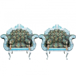 Peacock Color - Heavy Premium Metal Jaipur Sofa Chair - Wedding Chair - Chair Set - Made Of High Quality Metal & Wooden