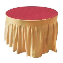 4 Ft x 4 FT - Round Table Cover - Made of Premium Quality Lycra Cloth - Sona Gold Lycra & Maroon Color