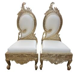 White Color - Udaipur - Heavy - Premium - Mandap Chair - Wedding Chair - Varmala Chair Set - Chair Set - Made Of Wooden & Metal - 1 Pair ( 2 Chair )