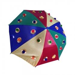 24 Inch Height & 27 Inch Diameter - Rajasthani Umbrella Handicraft Walking Stick Umbrella - Multi Color