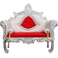 Red & White Color - Heavy - Premium - Couches - Sofa - Wedding Sofa - Maharaja Sofa - Wedding Couches - Made Of Wooden & Metal