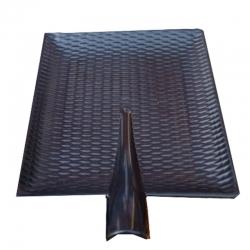 7 INCH - Sped Snack Platter - Square Shape Chat Plate - Made Of Food Grade Regular Plastic - Black Color