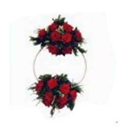 1 FT X 1 FT Red & White Color - Selfie Ring - Artificial Flower Entry Gate With Stand - For Indoor & Out Door Decoration
