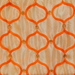 26 Gauge - Designer Bright Lycra - Embroidery Work - 52 Inch Panna -  Threadwork & Sequence Work - Chandan With Orange Color