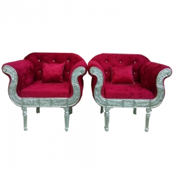 Red Color -  Heavy Premium Metal Jaipur Sofa Chair - Wedding Chair - Chair Set - Made Of High Quality Metal & Wooden