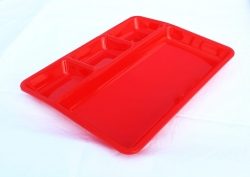 11 Inch X 14 Inch - 4 Compartment Plate - Dosa Plate - Made Of Food Grade Acrylic - Red  Color