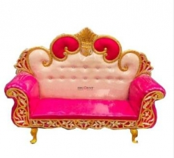 White & Pink Color - Regular - Couches - Sofa - Wedding Sofa - Maharaja Sofa - Wedding Couches - Made Of Wooden & Metal