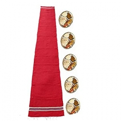1.5 FT X 9.8 FT - Cotton Floor Mat - Bhojan Patti - Aasan - Flouring Mat - Red Color