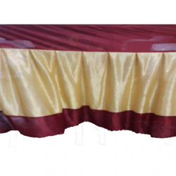 Height - 3 FT - Breadth - 18 FT - Table Cover Frill - Made Of Premium Lycra Quality - Golden Color & Mehroon Color