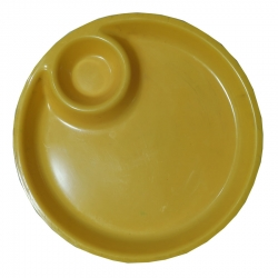 10.5 Inch - Biryani Plate - 2 Compartments Plastic Plates - Made of Plastic - Round Shape - Yellow Color
