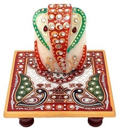 2.5 Inch - Chauki Ganesh Ji Statue Murti - Center Table Item - Made of Marble.