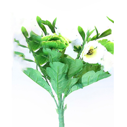 Height 16 Inch - Anemon 7 Stick Bunch -  AF- 264 - Leaf Bunch - White Color