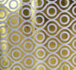 Foil Work Print on Brite Lycra-24 Guage - 54 Inch Panna - Heavy Quality Cloth Material -Color White and Golden Color
