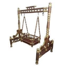 2 In 1 - Heavy Wooden Swing - Sankheda Jhula -  Palna  Brown & Golden Color