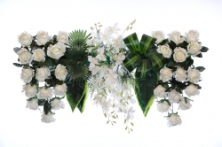 2.5 FT - Plastic Artificial Flower Panel - Flower Carry - Flower Decoration - White & Green Color