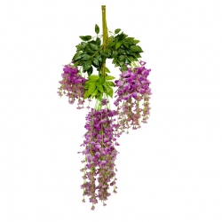 3.5 FT - Plastic Artificial Flower - Latkan - Flower Decoration - Purple Color - (1 Packet - 12 Piece Leaf )
